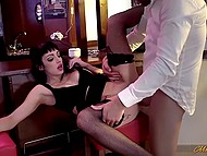 There was nobody in the bar and buddy made use of it to penetrate slutty brunette's anal hole 4