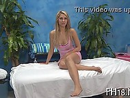 Young blonde comes to massage parlor for the first time, therefore she doesn't know it's necessary to strip down and have sex with therapist 5