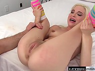 Petite blonde with braces performs awesome blowjob to friend who fits fat boner in her cunny 4