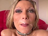 Slutty MILF with fashioned collar was severely fucked and facialized by handy dudes 11