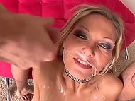 Slutty MILF with fashioned collar was severely fucked and facialized by handy dudes 9