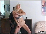 Delectable pornstar with long legs serves immense black dick in doggystyle position 6