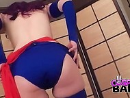 Cosplay girl starts to undress and engages herself with stimulating her cunny by fingers 5