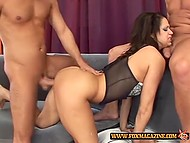 Just one cock is not an option for this slut so she treats three cock at the same time 6