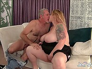 Fatty gets pounded well by grey-haired man who knows how to do his job with females of any size 5