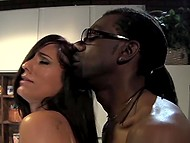 Good-looking MILF gets surprised by the dick size so allows black guy to bangs her cunt 8