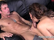 Muscular dude was jerking off and watching stepsister 's erotic photos but she suddenly came in and gave blowjob 8
