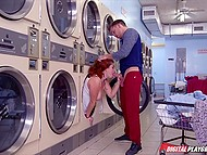 Red-haired chick decides to give pal a nice blowjob right in laundry and gets her face covered 4
