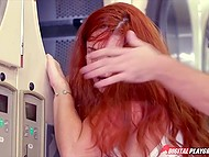 Red-haired chick decides to give pal a nice blowjob right in laundry and gets her face covered 7