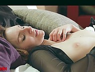 Cute girl masturbates her peach but boyfriend wants to indulge her in sensual sex 7