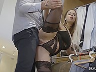 Guy wants to buy a costume but babe in black decides to give a blowjob and feel his phallus in her pussy 5