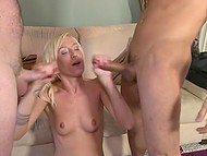 One cock for blonde whore is not enough so she has fun with two at the same time 11