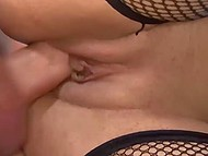 Slutty chick in fishnet stockings gets bonked anc creampied by blonde-haired fucker 11