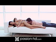 Teen girls decide to have fun with each other's pussy but dude's cock diversified their lesbian fun 6