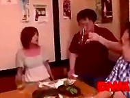 Man had fucked Asian MILF's quickly in the toilet before they came back to friends 11
