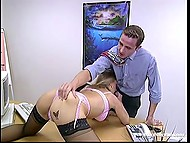 Seductive secretary was almost fired but her holes made boss change his mind 5