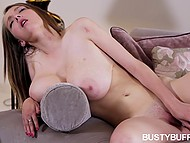 Cutie with incredible natural jugs teases herself with help of glass dildo in solo scene 10
