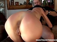 Slim girl forced old man to shut up and pull penis out threatening him with vintage gun 6