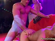 Bald guy isn't shy to fuck blonde sexpot on the stage and finish that show with cumshot
