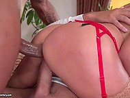 Elegant blonde in stockings has fun with two rods that double penetrate her visiting every slit 9