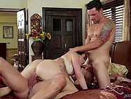 Unexpected visitor was lucky to take part in group sex with seductive female in fashioned lingerie 4