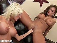 Big-boobied ladies removed sexy lingerie and brought fists into play on the black couch 11