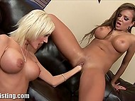 Big-boobied ladies removed sexy lingerie and brought fists into play on the black couch 6
