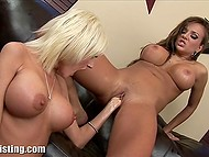 Big-boobied ladies removed sexy lingerie and brought fists into play on the black couch 8