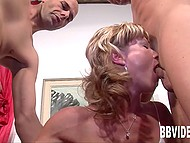 White-haired lassie with slender body gently sucks men's little dicks in the threesome scene 5