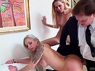 Fragile chick made guy excited but hot penis went in buxom MILF's smooth vagina 8