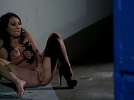 Lustful Asa Akira went to alley to masturbate while staring at the kissing couple