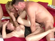 Shaved vaginas of mature women finally got hot dicks inside in the German video 11