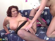 Teenage honey teaches big-boobied mature woman to have fun using adult toy 8