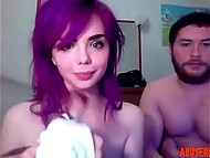 Seductive emo gave deepthroat blowjob then received fresh sperm on the face in the webcam scene 11