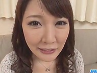 Smiling girl from Japan found out what double penetration is while having two vibrators in tight holes 3