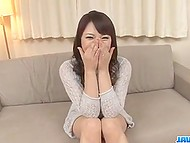 Smiling girl from Japan found out what double penetration is while having two vibrators in tight holes 4