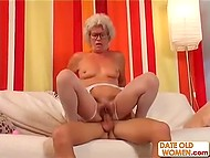 White-headed old woman enjoyed dildo in vagina but youngster's cock brought her much more pleasure