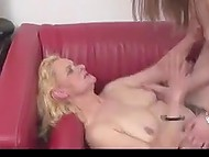 Granny and young lass have the same desires and they bring them to life on red couch 3