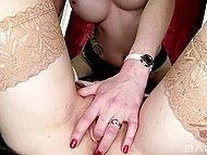 Blonde-haired babe and red-haired GF licked each other's sissy, toyed them with dildo, and practiced sixty-nine 4