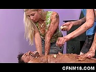 Youngster's body was dotted with cakes so girls smeared them all over him and took care of his dick 4