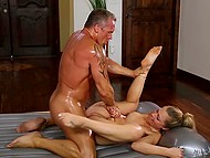 Awesome anal pounding with stunning hot masseuse made muscular client sweat abundantly 10