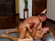 Awesome anal pounding with stunning hot masseuse made muscular client sweat abundantly 11