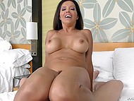 Rigid meatpole rubbed bootyhole of Latina with big boobs and emitted cum in her mouth 7