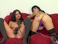 Big-tittied girlfriends have fun with double-sided dildo and vibrators live on video channel 5