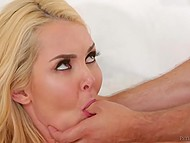 Blonde dame goes mad about young neighbor and invites him to become acquainted with his cock 3