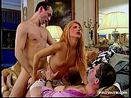Master called servant girl entrusting her with entertaining of his guest by some sudden sex 10