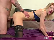 Blonde MILF in stockings gets punished because of phone conversion by bully's cock 5