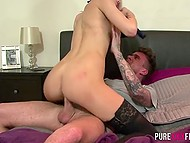 Blonde MILF in stockings gets punished because of phone conversion by bully's cock 7