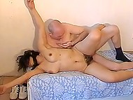 Middle-aged man with bald head moves cock inside Serbian partner's hairy pussy till cums on her boobs 10
