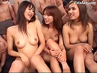 Three teenage Japanese girls fearlessly talking being surrounded by naked perverts 8